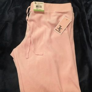 Brand new cuffed velour whisper pink track pants!